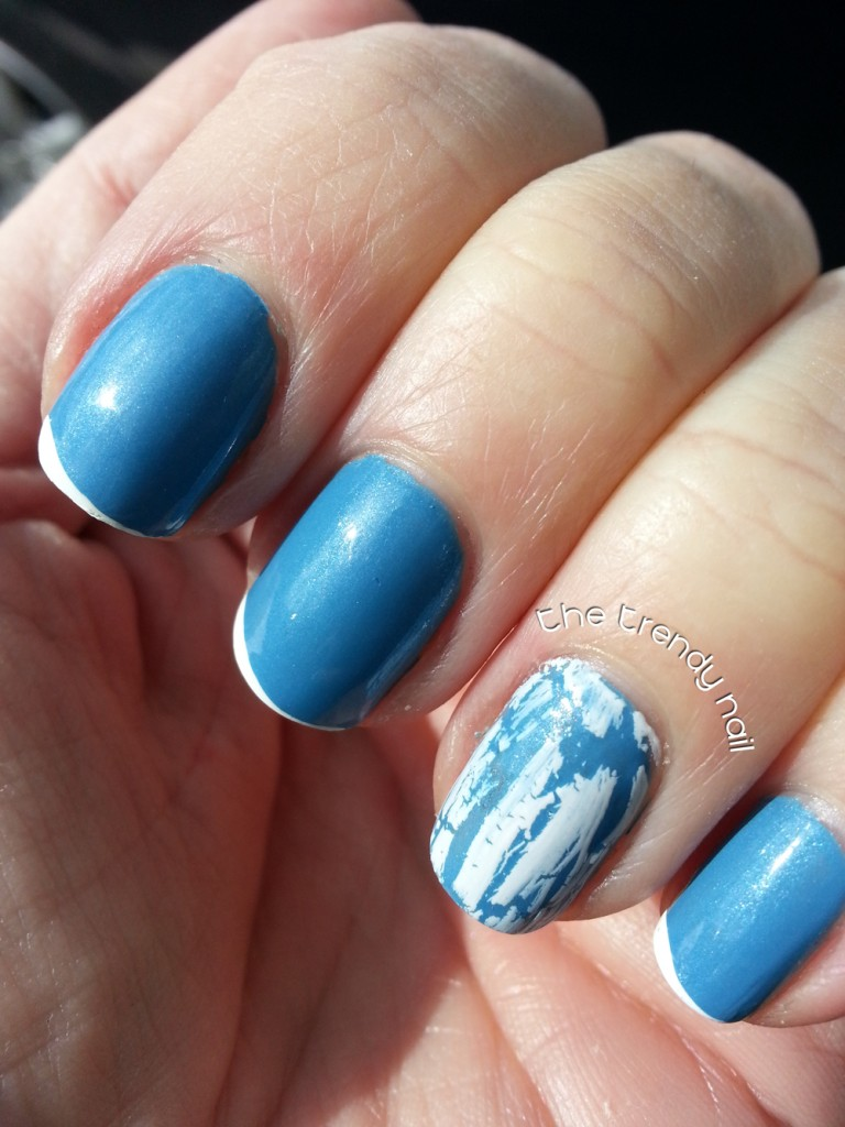 Blue Nails with Crackle Polish