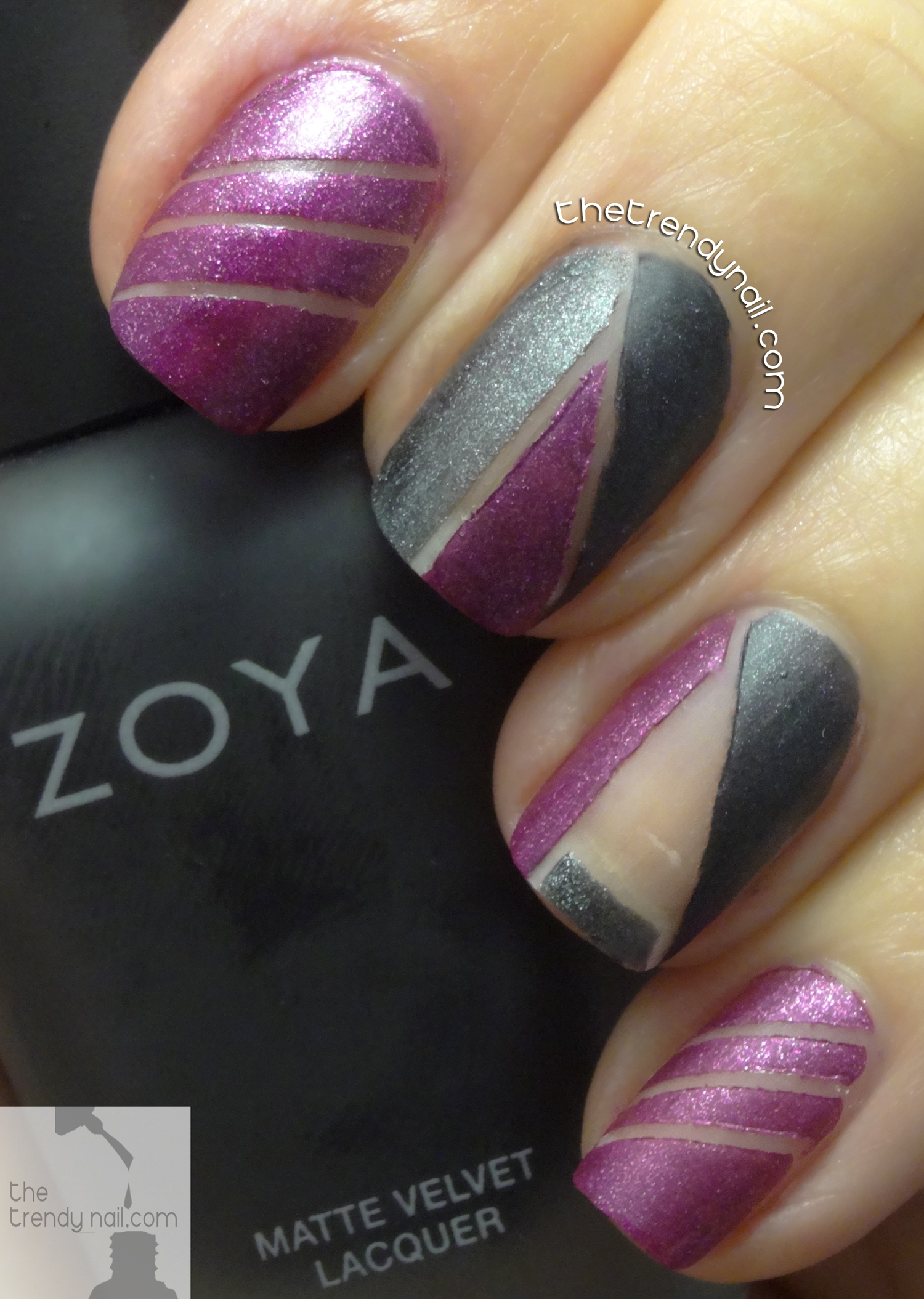 Negative Space Nail Art with Zoya Matte Velvet Nail Polish