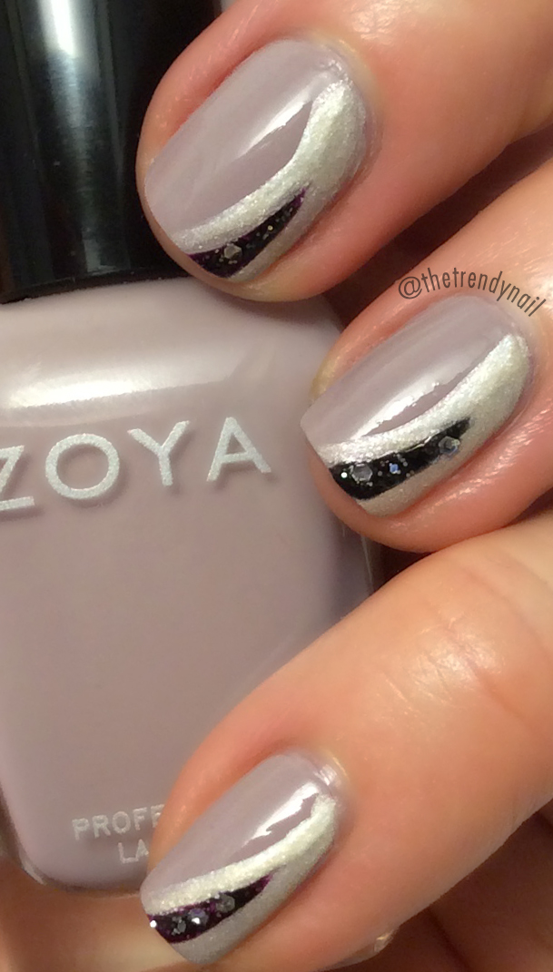 Zoya-Layered Half Moon Nail Art