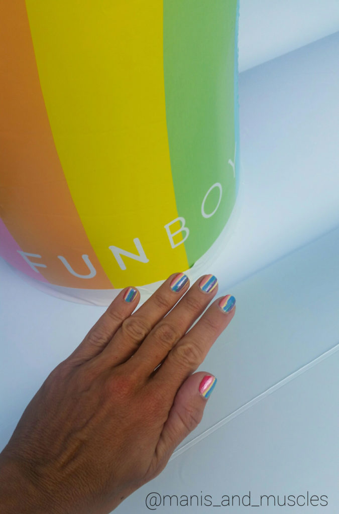rainbow stripe nails funboy float
