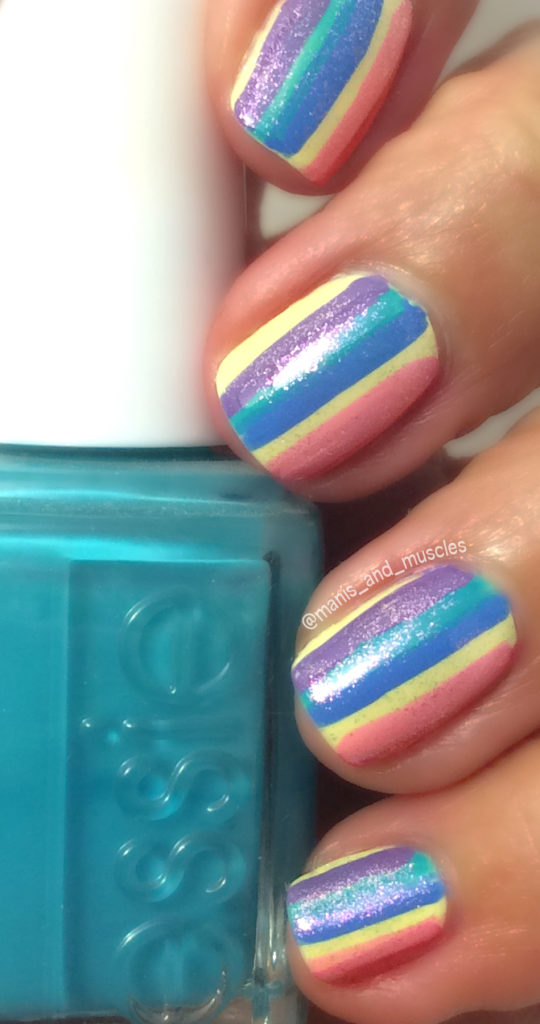 essie rainbow stripe nails