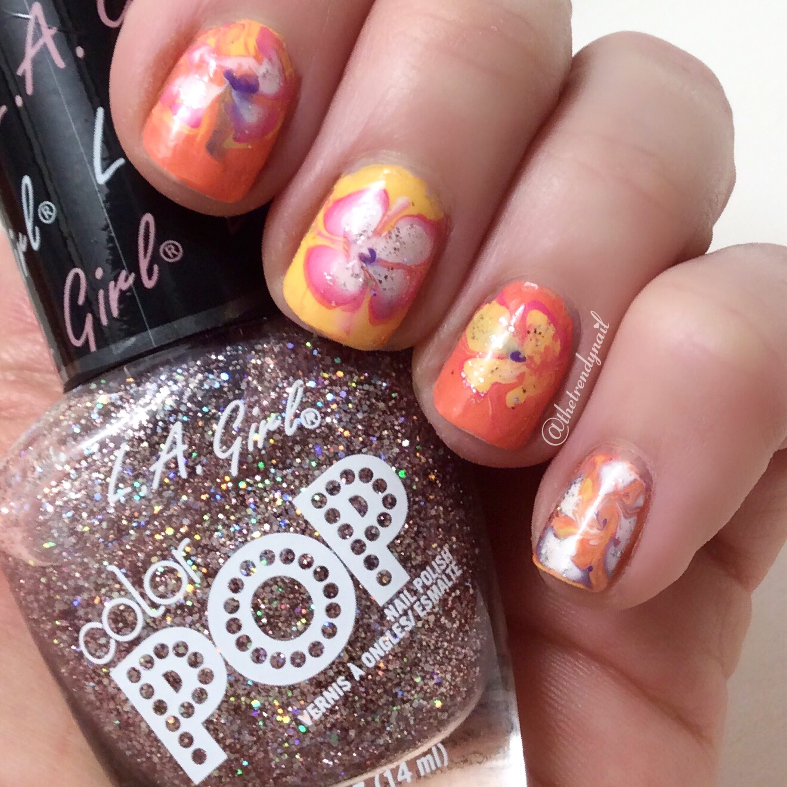 Spring Marble Nails